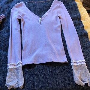 Blush xs free people lace top, never worn!